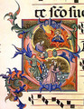 Ms 572 f.32v Historiated initial 'S' depicting the stoning of St. Stephen - Don Simone Camaldolese