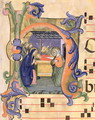Ms 571 f.6r Historiated initial 'H' depicting the Nativity from an antiphon - Don Simone Camaldolese