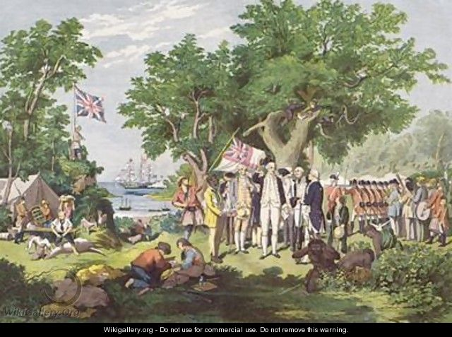 Captain Cook taking possession of the Australian continent on behalf of the British Crown, under the name of New South Wales 1770, 1865 - Samuel Calvert