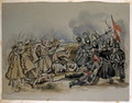 A conflict between Guards and Russian Troops during the Crimean War, from an album of paintings and sketches known as 'Cadogan's Crimea', c.1856 - George Cadogan