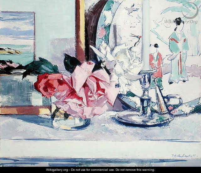 A Still Life - Roses (lona) - Francis Campbell Boileau Cadell