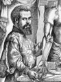 Portrait of Andreas Vesalius (1514-64) from his book 'De Humani Corporis Fabrica', 1543, illustration from 'Science and Literature in the Middle Ages and the Renaissance', 1878 - Jan Steven van Calcar