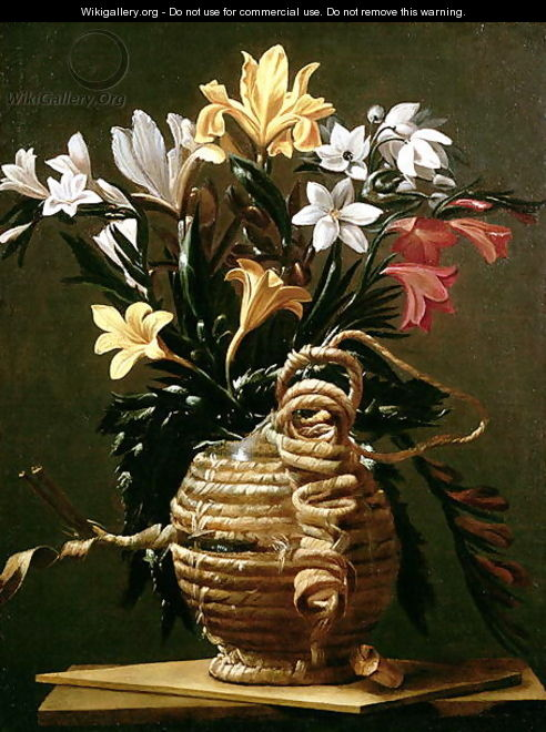 Still Life of Flowers in a straw-covered Flask - Guido Cagnacci