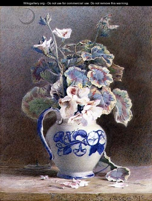 Geraniums in a China Jug, 1875 - Hector Caffieri