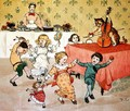 The Cat and the Fiddle and the Children's Party illustration from Hey Diddle Diddle - Randolph Caldecott