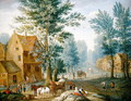 A Village Landscape with Travellers - Joseph van Bredael