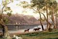 River landscape with barge horses, 1860 - Frederick Lee Bridell