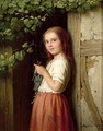 Young Girl Standing in a Doorway Knitting, 1863 - Meyer Georg von Bremen