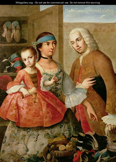 A Spaniard and his Mexican Indian Wife and their Child, from a series on mixed race marriages in Mexico - Miguel Cabrera