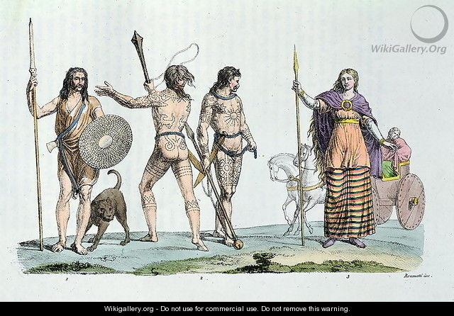 Celtic people at the time of Julius Caesar, illustration from