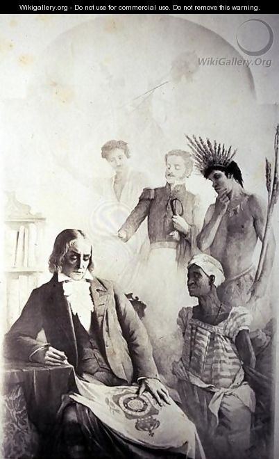 Founder of the Brazilian Country, 7th September 1822 - An Allegory representing the three races- the African slave, the Portuguese and the native Indian with Jose Bonifacio - Anonymous Artist
