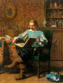 A Cavalrist Reading in a 17th Century Interior - Lambertus Lingeman