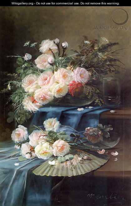 Flowers, Fan and a Glass on Draped Table - Max Carlier