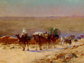 The Caravan In The Desert - Alexis Auguste Delahogue