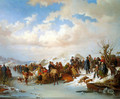 A Village Gathering along a Frozen River - Kilian Christoffer Zoll