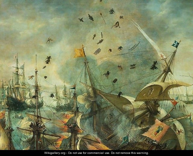 Explosion of the Spanish Flagship in the Battle of Gibraltar, 1607 [detail #1] - Cornelis Claesz van Wieringen