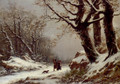 Travellers In Winter Woodland - Charles Joseph Lecointe