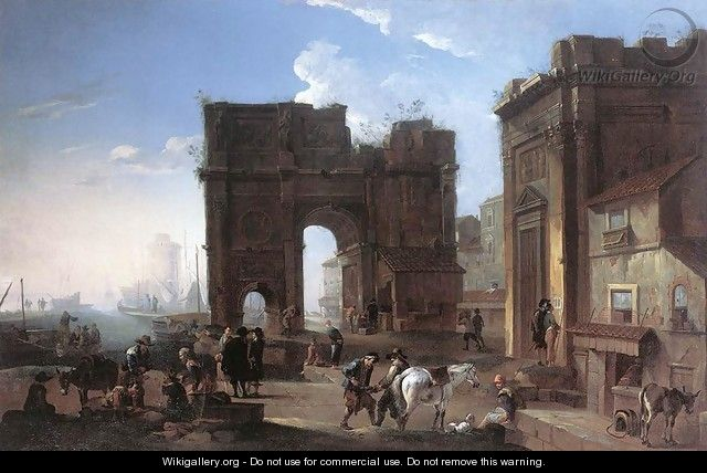 Harbour View with Triumphal Arch - Alessandro Salucci