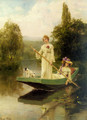 Two Ladies Punting on the River - Henry John Yeend King