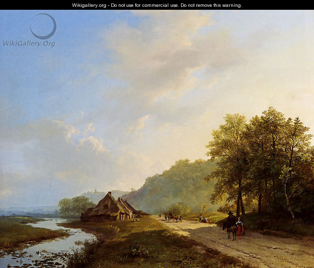 A Summer Landscape With Travellers On A Path - Barend Cornelis Koekkoek