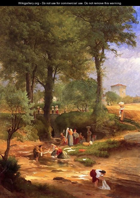 Washing Day near Perugia (or Italian Washerwomen) - George Inness