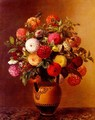 Still Life of Dahlias in a Vase - Johan Laurentz Jensen