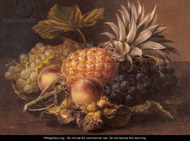 Grapes, a Pineapple, Peaches and Hazelnuts in a Basket - Johan Laurentz Jensen