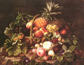 A Still Life Of A Basket Of Fruit And Roses - Johan Laurentz Jensen