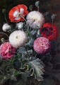 Still Life with Pink, Red and White Poppies - Johan Laurentz Jensen