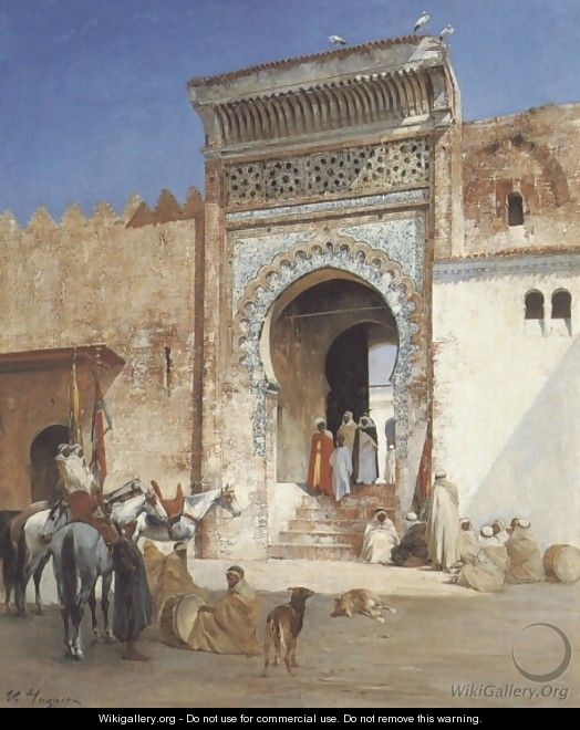 Arabs Outside the Mosque - Victor Pierre Huguet