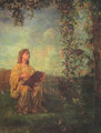 Decorative Panel, Seated Figure in Yellow - John La Farge