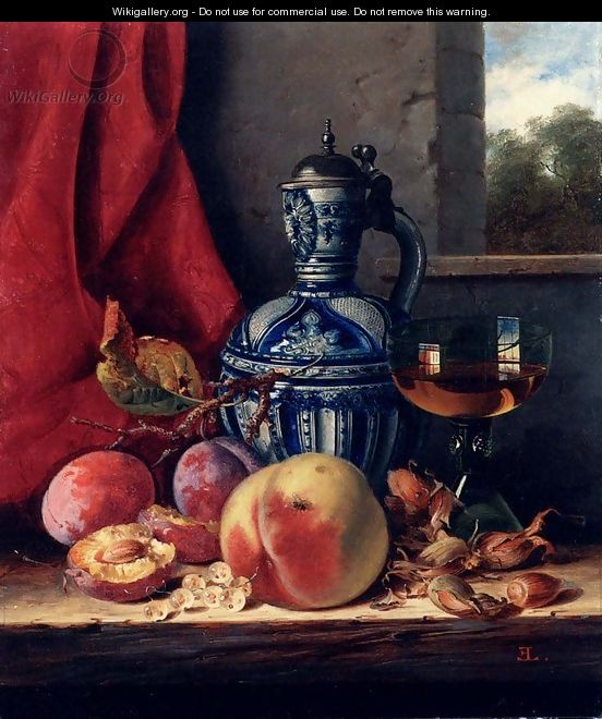Still Life with Peaches, Whitecurrants, Hazelnuts, a Glass and a Stoneware Jug on a wooden Ledge with a Landscape beyond - Edward Ladell
