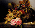 Still Life With A Birds Nest, Roses, A Melon And Grapes - Edward Ladell