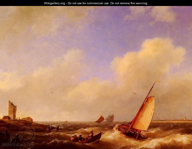 The Scheldt River at Flessinghe - Johannes Hermanus Koekkoek Snr