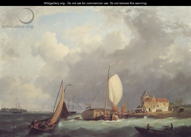 Shipping off the Dutch Coast - Johannes Hermanus Koekkoek Snr