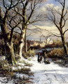 Figures On A Snowy Road - Johannes Hermanus Koekkoek Snr