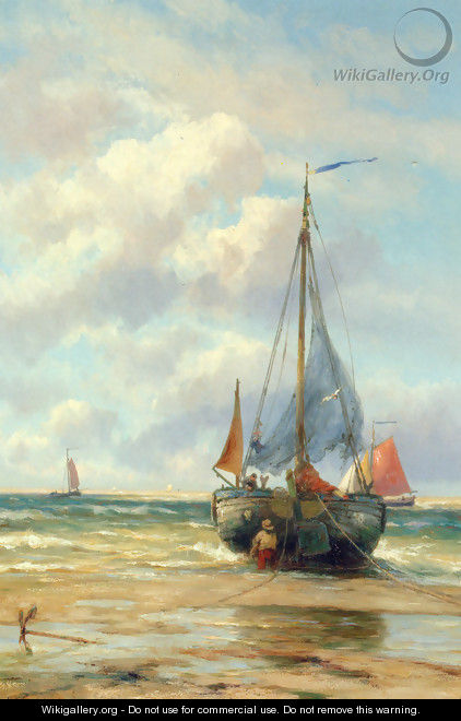 A Bomschuit in the Breakers - Johannes Hermanus Koekkoek Snr