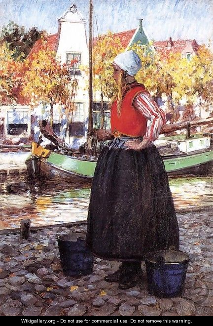 Woman Along Canal (or A Young Dutch Girl) - George Hitchcock