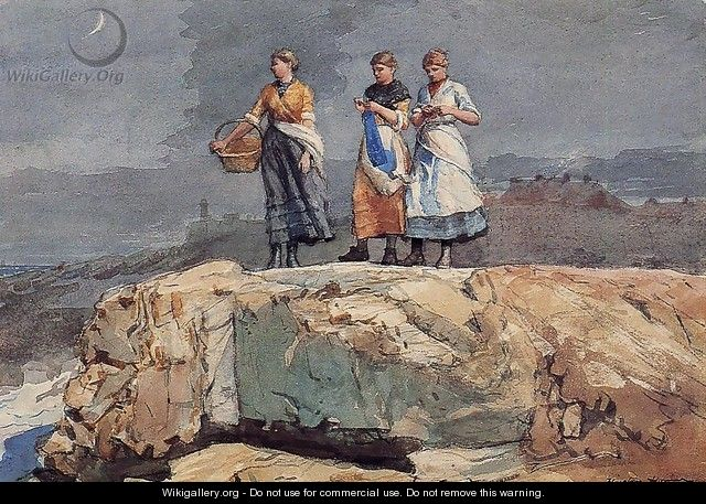 Where are the Boats? (or On the Cliffs) - Winslow Homer