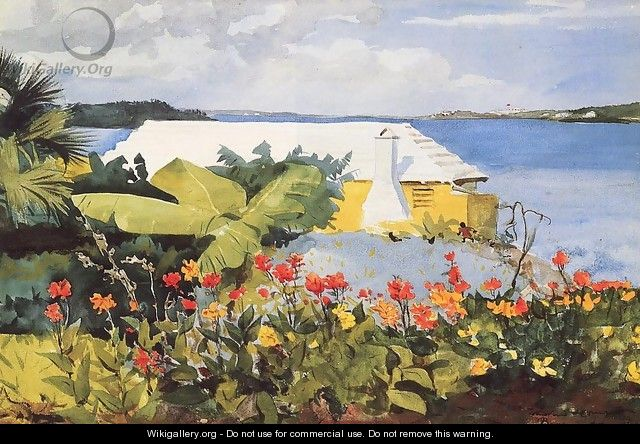 Flower Garden and Bungalow, Bermuda - Winslow Homer