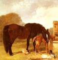 Horse and Foal watering at a trough - John Frederick Herring Snr