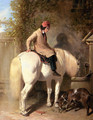 Refreshment, A Boy Watering His Grey Pony - John Frederick Herring Snr