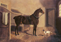 A Favorite Coach Horse and Dog in a Stable - John Frederick Herring Snr