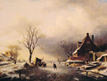 Winter Scene with Skaters - Charles Henri Joseph Leickert