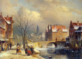 Winter Villagers on a Snowy Street by a Canal - Charles Henri Joseph Leickert