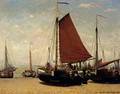 The Bomschuit Prinses Sophie On The Beach, Scheveningen - Hendrik Willem Mesdag