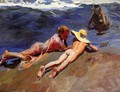 On the Sand, Valencia Beach - Joaquin Sorolla y Bastida