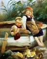 Feeding The Ducklings - Karl Raupp
