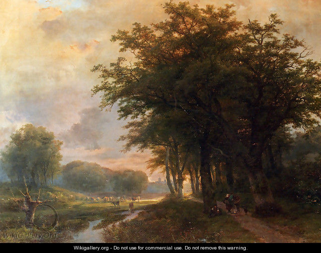 A Wooded River Valley With Peasants On A Path, Cattle In A Meadow Beyond - Johann Bernard Klombeck