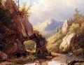 A Mountain Valley With A Peasant And Cattle Passing Along A Stream - Johann Bernard Klombeck
